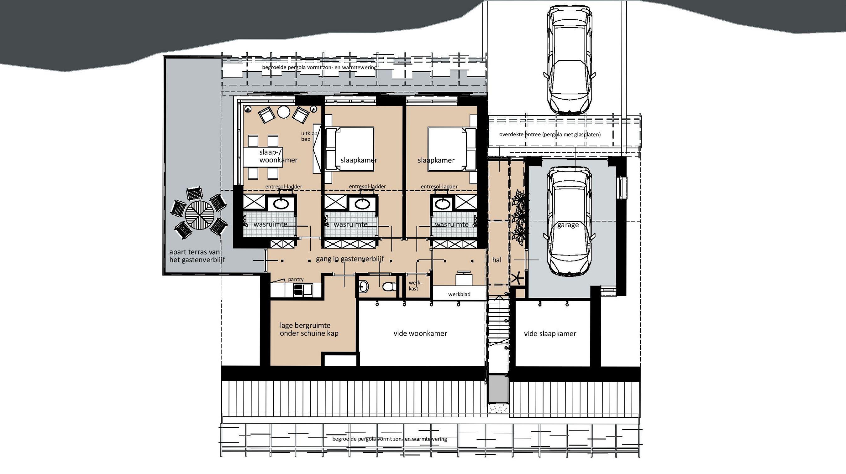 Plattegrond entree en logeerniveau (verdieping)