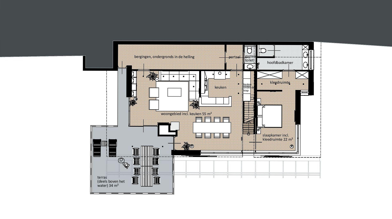 Plattegrond woonniveau (onderverdieping)